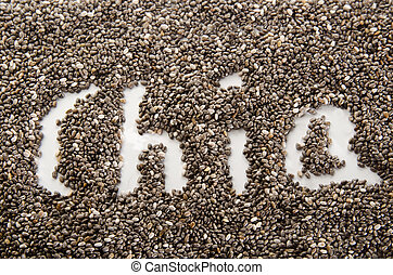 the word chia written with seed