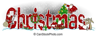 The word Christmas with illustrations of Santa and Mrs. Claus, an elf, reindeer and a tree