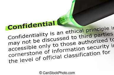 CONFIDENTIAL highlighted in green - The word CONFIDENTIAL...
