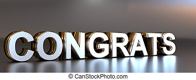 The word congratulations with reflections