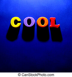 The Word Cool on Blue Background - The word cool spelled out...