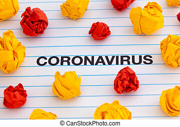 The word Coronavirus with colorful crumpled paper balls around it