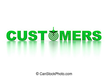 The word Customers with a target