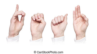 The word 'deaf' in sign language, isolated on a white...