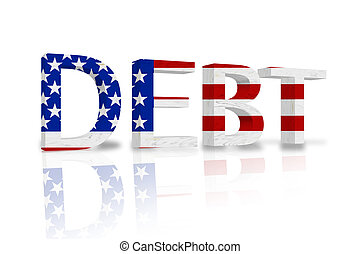 United States Debt - The word Debt in 3D in the American...