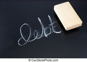 The word DEBT written in chalk on a chalkboard being rubbed out by an eraser