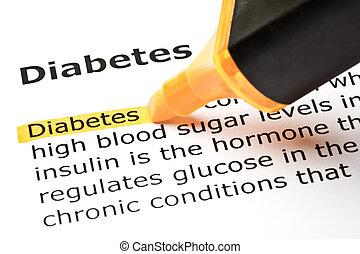 'Diabetes' highlighted in orange - The word 'Diabetes'...