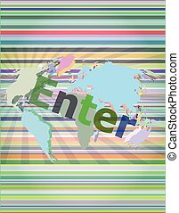 The word enter on digital screen, business concept vector illustration