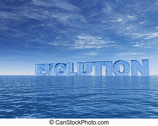 evolution - the word evolution at the ocean - 3d...