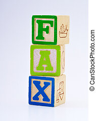 The word fax spelled with blocks