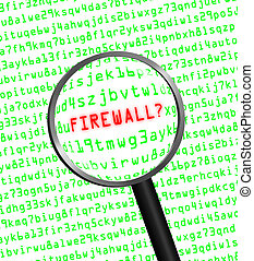 "The word ""FIREWALL?"" in red revealed in green computer machine code through a magnifying glass. White background."