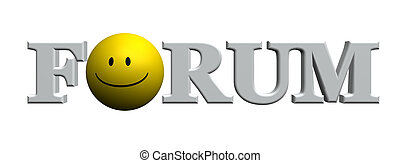 forum - the word forum with a smiley - 3d illustration