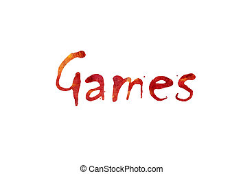 """The word """"Games"""" written in watercolor  over a white paper background"""