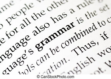 The word 'grammar' in bold in a book