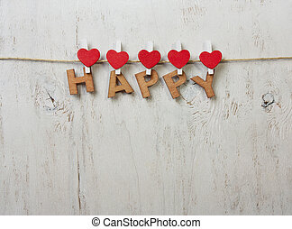 the word happy on a white background old