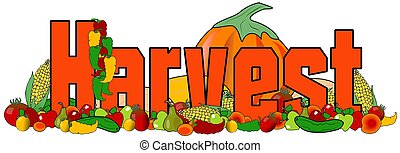 The word harvest with illustrations of fruit and vegetables...