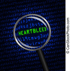 """The word """"Heartbleed"""" revealed in blue computer machine code through a magnifying glass"""