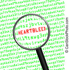 """The word """"Heartbleed"""" revealed in computer machine code through a magnifying glass"""