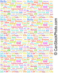 The word Hello written with the different world languages over white background
