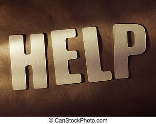 The word Help on paper background