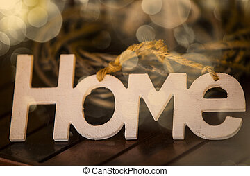 The word Home in white letters