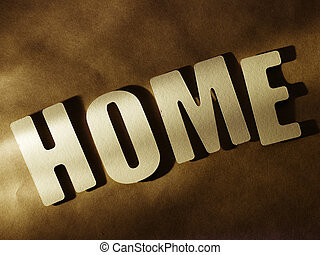 The word Home on paper background