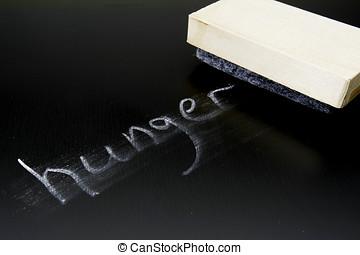 The word Hunger written in chalk on a blackboard being erased.