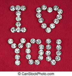 """The word """"I love you"""" made by ??with rhinestones"""