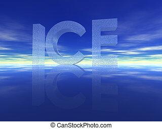 the word ice on water