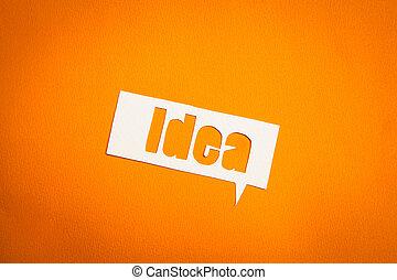The word idea in speech bubble