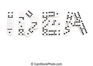 The word idea is made by domino pieces on a white background
