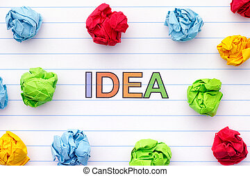 The word Idea written on a lined notebook sheet with some crumpled paper balls around it