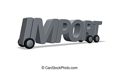 import - the word import on wheels - 3d illustration