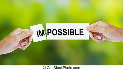The word Impossible for Possible - Businessman tearing the ...