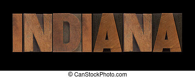 Indiana in old wood type