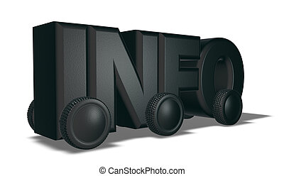 the word info on wheels - 3d illustration