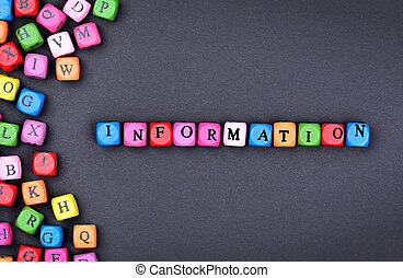 The word Information on black background