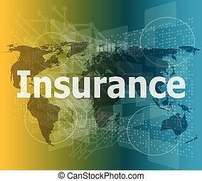 The word insurance on digital screen, business concept vector illustration