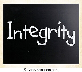 """The word """"Integrity"""" handwritten with white chalk on a..."""