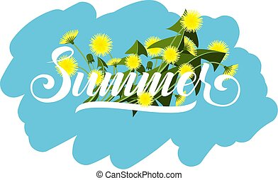 The word is summer. Graphic vector lettering illustration. Poster with dandelions.