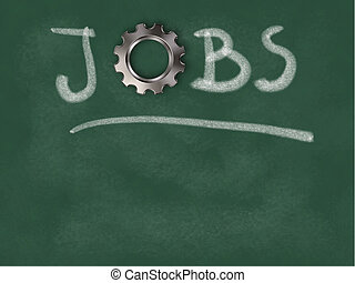 the word jobs with gear wheel on chalkboard - 3d illustration