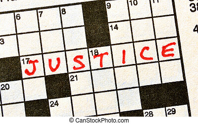 The Word Justice on Crossword Puzzle in Red Ink