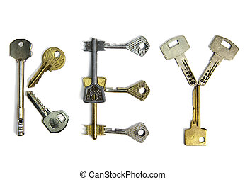 """The word """"key"""" is made of keys of various form, on a white background"""