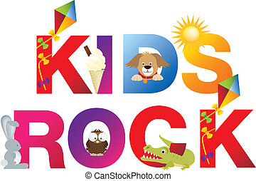 The word kids rock made up from alphabet cartoon letters...