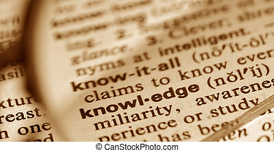 knowledge - The word knowledge through a pair of glasses