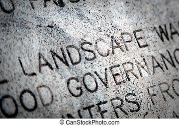 "The Word ""Landscape"" on Granite"