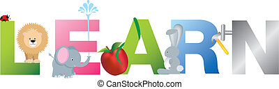 The word learn made up from alphabet cartoon letters with matching animals and objects