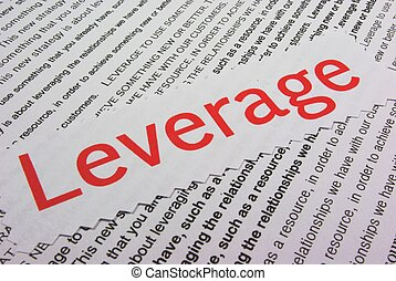leverage - The word leverage with definition on white ...