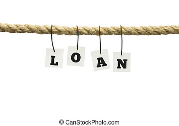 The word loan in alphabet letters on a rope