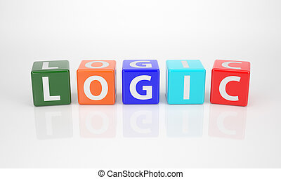 The Word Logic out of multicolored Letter Dices